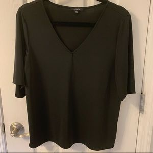 Black V Neck Ruffle Sleeve Blouse